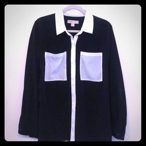 Michael Kors button up color block blouse